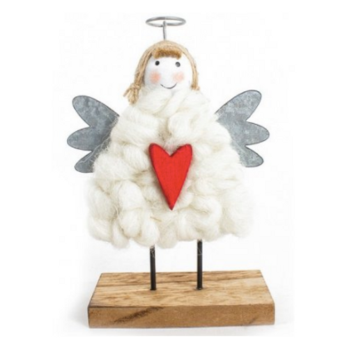 Wooden Angel with Wool Dress