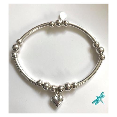Large Heart Sterling Silver Charm Bracelet