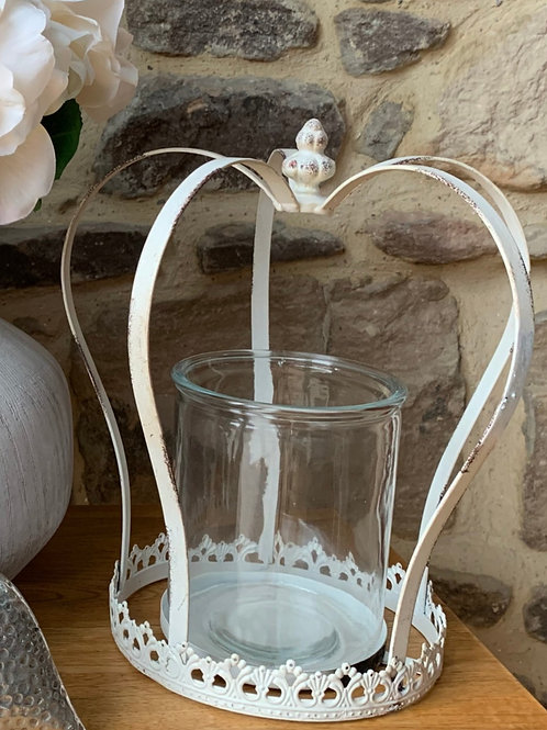 White Antique Crown Candle Holder Large