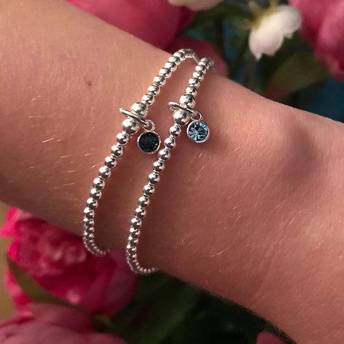 Blue Zircon Sterling Silver Charm Bracelet