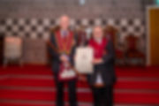 E.Comp. Gary Spiers presents Comp. Hugh Blair with his Royal Arch Certificate.