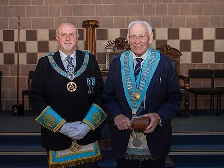 W.M. Neil Richie accompanied by R.W. Bro. John Edens, Provincial Assistant Grand Master.