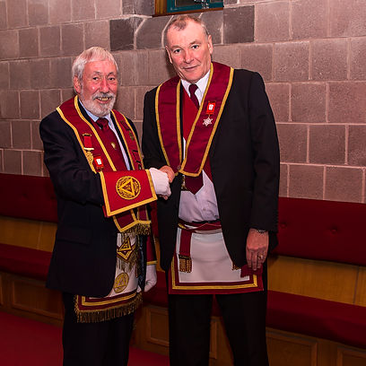 The acting E.K. E.C. Freddie Hoy welcomes our Distinguished Visitor present, our own Past District Grand Standard Bearer, V.E.Comp Bill McClenaghan.