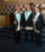 Bro. Lee Burnside Senior Deacon, Bro. Stephen Lee Inner Guard, Bro. Joe Corr, Junior Deacon.