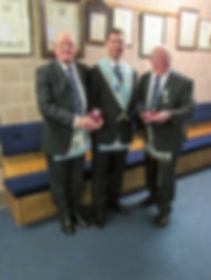 W.B. Frank McNeice and W.B Richard Wilson proudly showing their 60 and 50 year jewels.