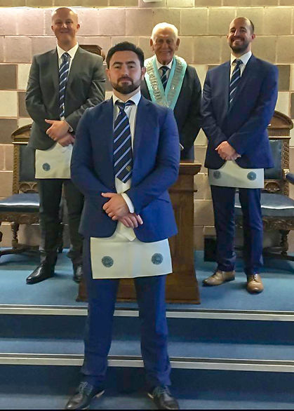 July 2018 Meeting ea 2.jpg  W.M. Neil Ritchie accompanied by Bro. Andrew Moore, Bro. David Thompson and Kyle McDowell who had just received their Fellow Craft degrees. The Lodge room was packed with lodge members and visitors who enjoyed an excellent degree delivered by W.Bro. John Gibson