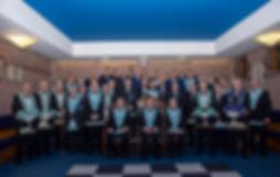 W.M. Lee Burnside accompanied by Grand Lodge Officers,