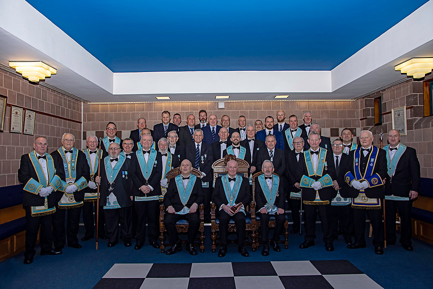 Worshipful Master Lee Burnside, accompanied by Grand Lodge Officer, Elected Member of the Grand Lodge of Instruction & Grand Lodge of Ireland Representative to the Grand Lodge of Portugal, Provincial Grand Lodge Officers, Lodge Officers and Brethren.