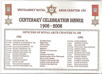 Abbey Royal Arch Chapter 180 centenary place mat.
