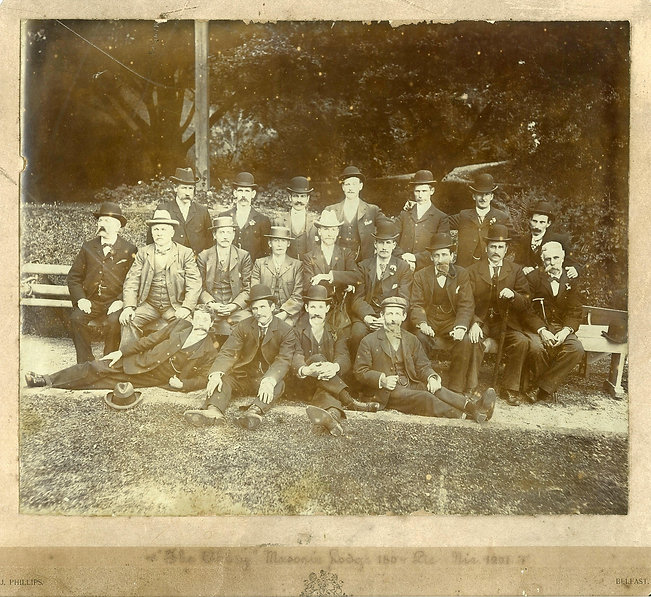 Brethren from the Abbey Masonic Lodge 180 relaxing after their picnic in the grounds of where the Edenmore Hotel was built