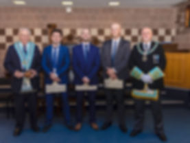 W.M. Neil Richie accompanied by Bro's. Kyle McDowell, David Thompson,  Andrew Moore and R.W. Bro. John Edens Provincial Assistant Grand Master. The three Entered Apprentices had been presented earlier in the evening with Lodge ties by the Provincial Assistant Grand Master.
