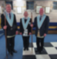 Bro. Eddie Spiers, Senior Deacon, W. B. Joe Corr, Inner Guard and Bro. Lee Burnside Junior Deacon.