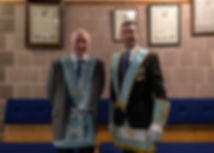Worshipful Master Lee Burnside accompanied by, V.W.Bro. Stevie Bell who was invested as Provincial Senior Grand Warden at the Provincial Grand Lodge of Antrim's Stated Communication on the 23rd February.
