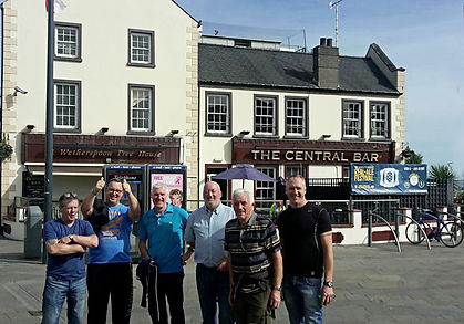 Celebrations as the team complete the walk, W. Master Terry Moore, W. Bro. Ian Eachus, W. Bro Bobby Spiers, W. Bro Jackie Bennett, W. Bro. Jim Lyttle, and Bro. Eddie Spiers.