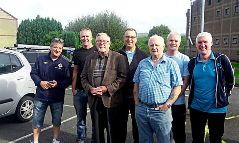 W. Master Terry Moore, Bro. Eddie Spiers, W. Bro. Denis Rowland, W. Bro. Ian Eachus, V.W.Bro. Bobby Spiers, W. Bro. Gary Spiers and W. Bro. Bobby Spiers.
