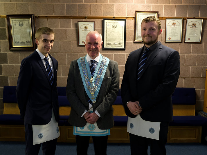 Worshipful Master  Lee Burnside accompanied by the Lodges newly passed Fellow Crafts, Bro. Ryan Mallet and Bro. Jamie Linton.
