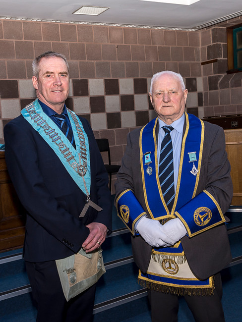 Worshipful Master Eddie Spiers accompanied by his father, R.W.Bro. Bobby Spiers
