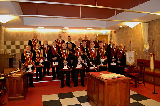 Abbey Royal Arch Chapter 180 Installation 2015: E.K. Freddie Hoy with District / Chapter Officers and Companions.