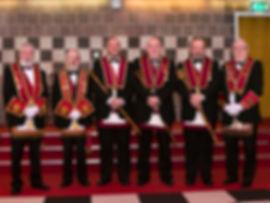 E.K. Stephen Houston accompanied by R.E. Comp. R.E Comp. Joe Corr, H.P. Robert Lenaghan, C.S. Paul Coard and V.E. Comp. Foster Clyde.