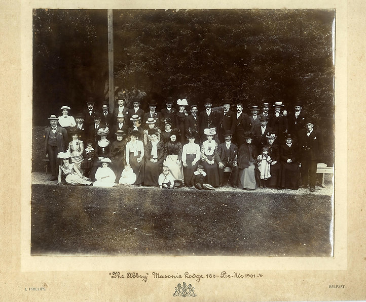 Abbey Masonic Lodge 180 Lodge members, wives and children enjoying thier picnic in the grounds of the Edenmore Hotel in 1901.