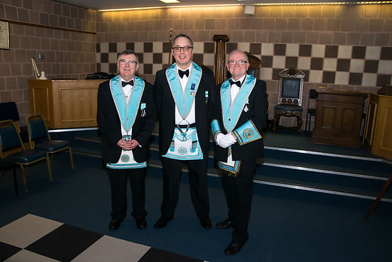 W.Bro. Jim Porter, Treasurer, W.Bro. Ian Eachus, Secretary, W.Bro. Alan Hunter Director of Ceremonies.