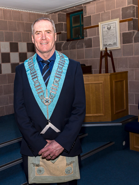 Worshipful Master Eddie Spiers proudly wearing the new Abbey 180 Worshipful Masters Collar.