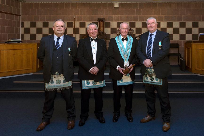 W.M. Lee Burnside accompanied by his cousin Wor.Bro. Paul Coard, W.Bro. Richard Burnside and W.Bro. George Burnside.