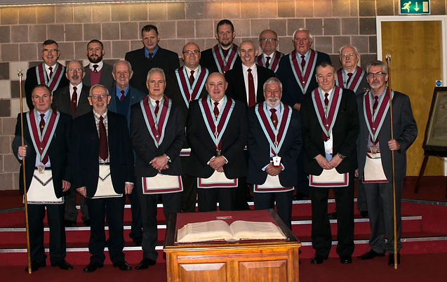 V.W.M. Stephen Houston accompanied by his Officers and Brethren.