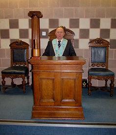W.Bro. Ken Ginnett pictured at the Dias