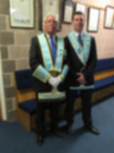 W.M. Stephen Bell with W.B. Brian Morrison who together had presented the 60 and 50 year jewels.
