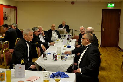 Abbey Royal Arch Chapter 180 2015: Companions relaxing at the festive board after listening to the speeches.