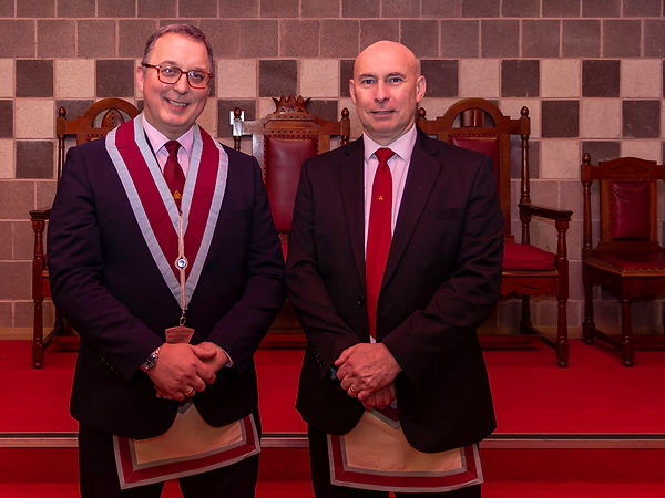 V.W.M. Ian Eachus accompanied by his Installing Officer, Bro. Simon Lusty.