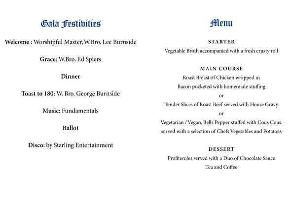 Gala Night menu Pages 2-3