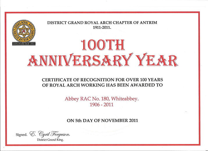 Abbey Royal Arch Chapter 180 100th Anniversary, 1911 to 2011.