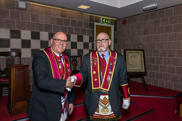 E.K. Robert Lenaghan welcomes V.E.Comp. Bill Clarke, Past District Grand Captain of the Host (PDGCH) of the District Grand Royal Arch Chapter of Down to the meeting.