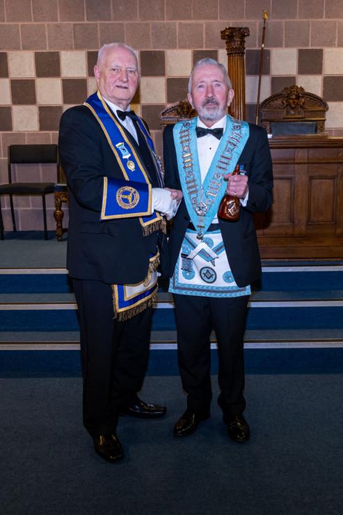 R.W.Bro. Bobby Spiers, EMGLI, Installing Officer congratulates Abbey 180's  New Worshipful Master, W.Bro. Joe Corr.