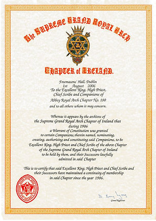 Centenary certificate presented to Abbey Royal Arch Chapter 180. The first to be presented in a Chapter in Ireland.