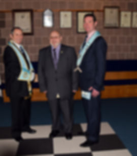 Bro. Hugh Blair pictured with the Worshipful Master Stephen Bell and his brother, W. Bro. Tony Blair, PPGS of Down and D.G.R.A.C. Of Antrim