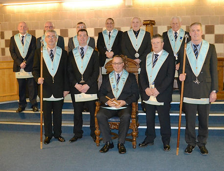 W.M. Ian Eachus with his Wardens & Officers of Abbey Masonic Lodge 180 after his Installation.