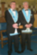 W. Bro. Jim Porter with the Installing Officer W. Bro. Bobby Spiers.