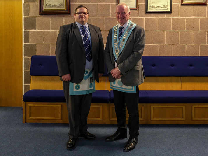 Worshipful Master  Lee Burnside welcomes W.Bro Marshall Duncan who affiliated from Lodge St Columba 297 in Moville.