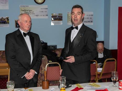 W.Bro. Stephen Bell presenting the W.M. Lee Burnside with the Masters Jewel