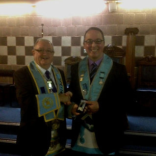 W.Bro. Foster Clyde being presented with a watch by W.Bro. Ian Eachus, W.M Abbey Masonic Lodge 180,  after retiring as a Provincial Grand Lodge Inspector.