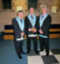 W.M. Stephen Bell accompanied by his Wardens, Bro. Terry Moore, Senior Warden and Bro. Stephen Colligan, Junior Warden