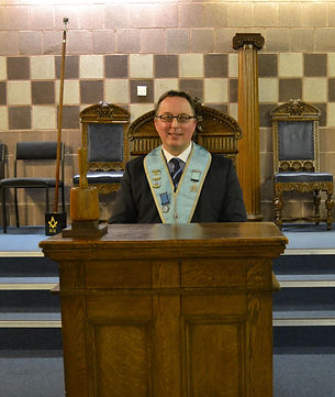 Worshipful Master Ian Eachus, Master of Abbey Masonic Lodge 180 for 2014. Lodge meets in the Whiteabbey Masonic Centre