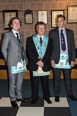 W.M.Terry Moore accompied by his guests, Bro. Andrew Moore and W.Bro. Bruce Waring from William Sefton Lodge No. 842