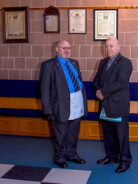 Bro Hugh Blair Accompanied by his guest Bro. Michael Snodden, who participated in his F.C. Degree.
