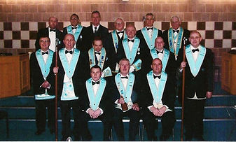 Wor. Bro. Bobby Spiers, Abbey Masonic Lodge 180, pictured with his Wardens and Officers after his installation in 2010.