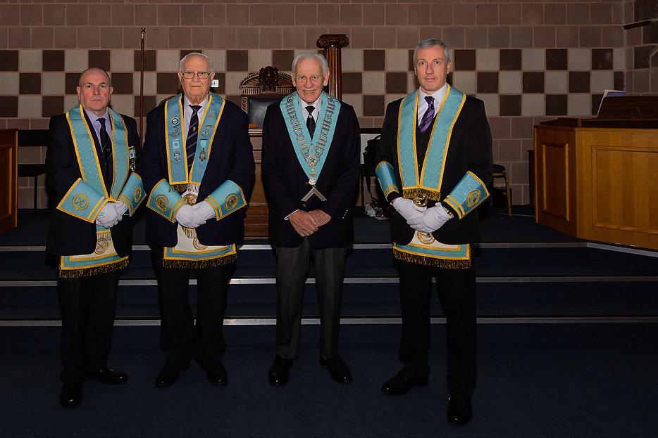 Worshipful Master Neil Ritchie, PGO accompanied by W. Bro. John McIlwaine P. Prov. Grand Inner Guard, W.Bro. Bobby Scott, Prov. Grand Inspector and W.Bro. John Gibson, Prov. Grand Steward.