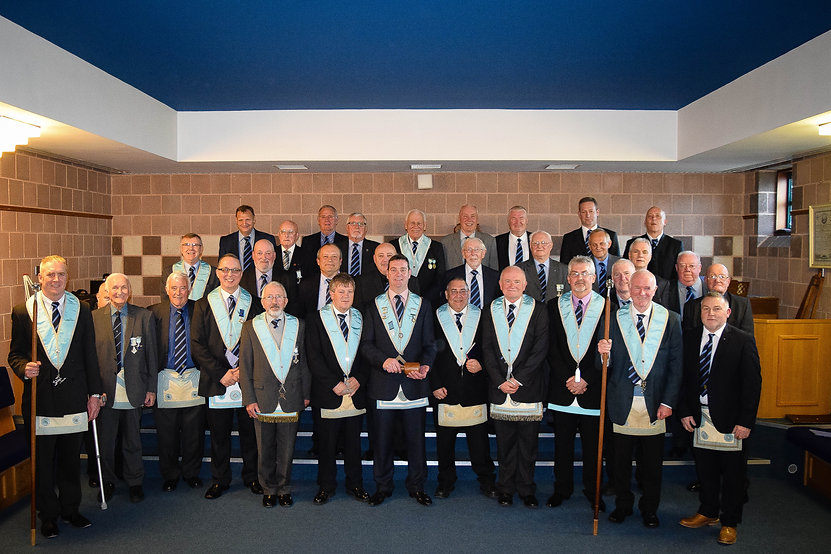 Abbey Masonic Lodge 180: Worshipful Master Stephen Bell accompanied by his Wardens, Officers and Brethren at their May Communication.